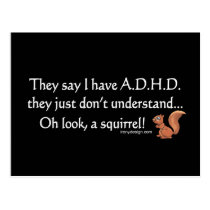 ADHD Squirrel Saying Postcard