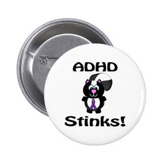 ADHD Stinks Skunk Awareness Design Pinback Buttons
