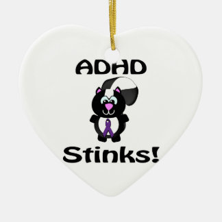ADHD  Stinks Skunk Awareness Design Double-Sided Heart Ceramic Christmas Ornament