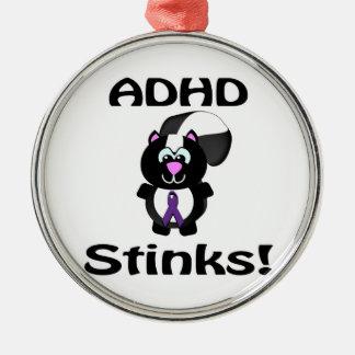 ADHD  Stinks Skunk Awareness Design Round Metal Christmas Ornament