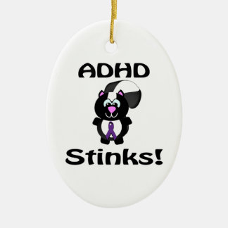 ADHD  Stinks Skunk Awareness Design Double-Sided Oval Ceramic Christmas Ornament