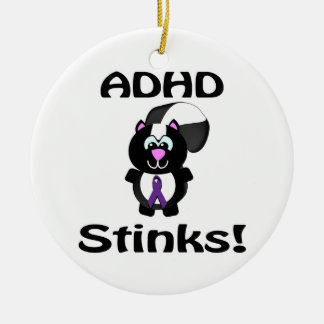 ADHD  Stinks Skunk Awareness Design Double-Sided Ceramic Round Christmas Ornament