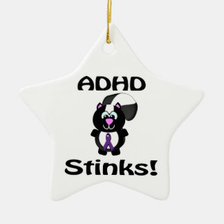 ADHD  Stinks Skunk Awareness Design Double-Sided Star Ceramic Christmas Ornament