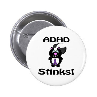 ADHD  Stinks Skunk Awareness Design Pinback Button