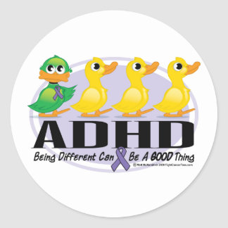 ADHD Ugly Duckling Classic Round Sticker