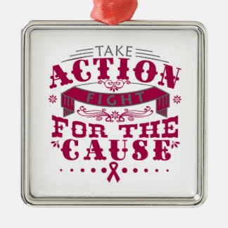 Adhesions Take Action Fight For The Cause Square Metal Christmas Ornament