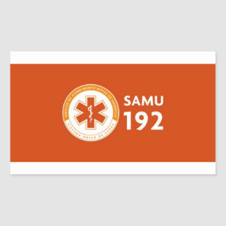Adhesive 192 Logomarca SAMU - deep red Rectangular Sticker