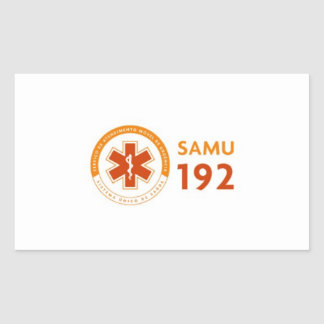 Adhesive 192 Logomarca SAMU - deep white Rectangular Sticker