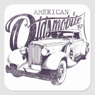 "Adhesive ""American Olds Mobile "" Square Sticker"