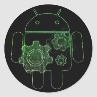 Adhesive android art play classic round sticker