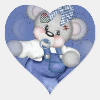 """Adhesive """"Baby Boy Teddy Cute """" Heart Sticker"""