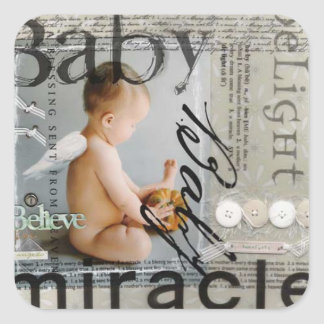 """Adhesive """"Baby Cute Miracle """" Square Sticker"""