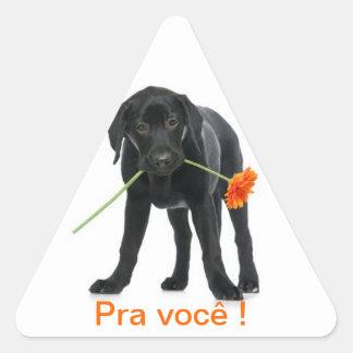 adhesive dog/flower triangle sticker