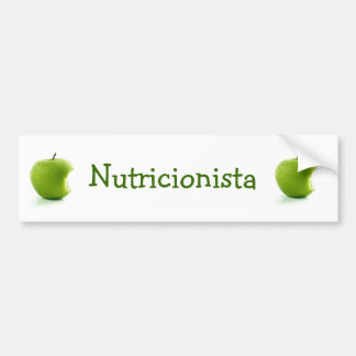 Adhesive Green Apple Nutritionist Car Bumper Sticker
