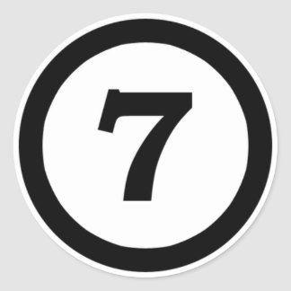 adhesive I number 7 seven, to number seven Classic Round Sticker