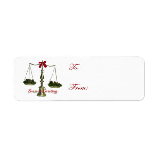 Adhesive Legal Scales Holiday Gift Tags Custom Return Address Label