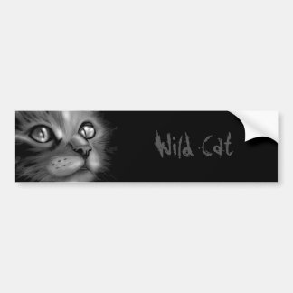 Adhesive of for-shock wild cat bumper sticker