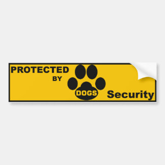 """Adhesive """"Protected by DOGS Bumper Stickers"""