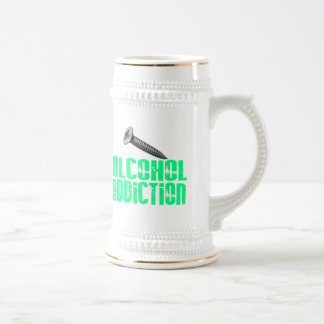 Adicción al alcohol del tornillo verde clara jarra de cerveza