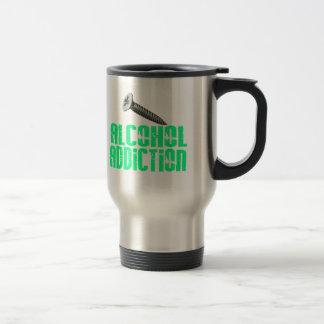 Adicción al alcohol del tornillo verde clara taza de viaje de acero inoxidable