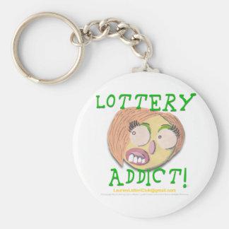 Adicto 002c a la lotería llavero redondo tipo pin