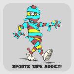 adicto a la cinta de los deportes pegatina cuadradas