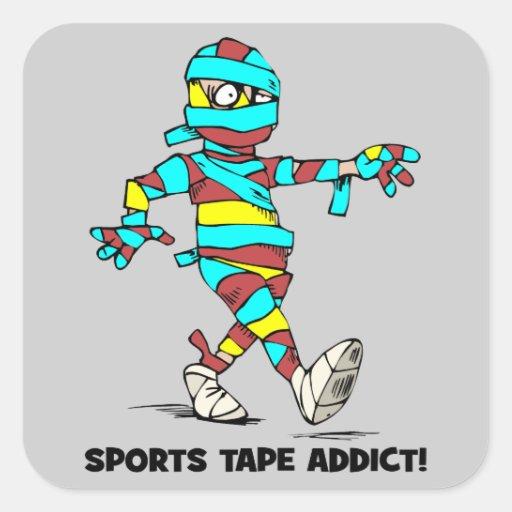 adicto a la cinta de los deportes pegatina cuadrada