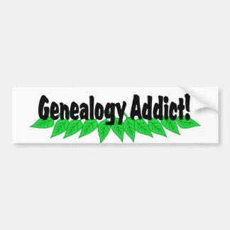 Adicto a la genealogía etiqueta de parachoque