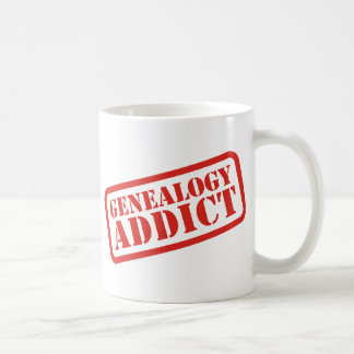 Adicto a la genealogía taza de café