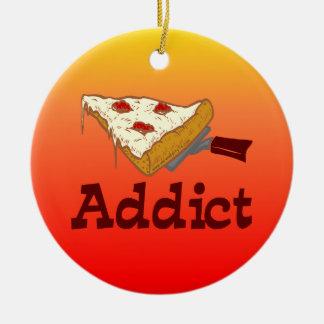 Adicto a la pizza adorno redondo de cerámica