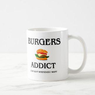 Adicto a las hamburguesas taza básica blanca