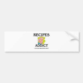 Adicto a las recetas etiqueta de parachoque