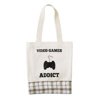 Adicto a los videojuegos bolsa tote zazzle HEART