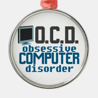 Adicto a ordenador adorno redondo plateado