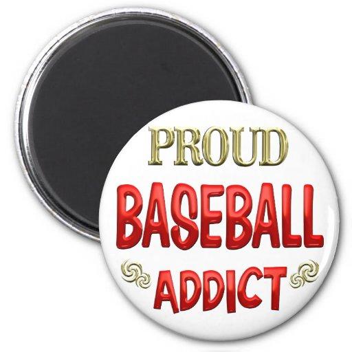 Adicto al béisbol iman de nevera