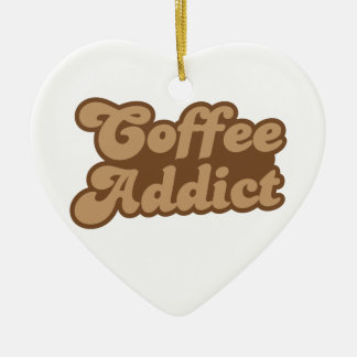 Adicto al café adorno de cerámica en forma de corazón