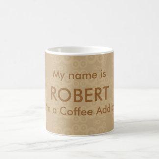 Adicto al café del círculo de la cosecha taza de café
