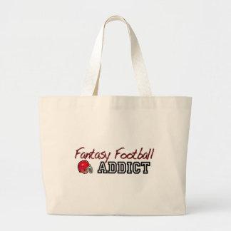 Adicto al fútbol de la fantasía bolsas lienzo