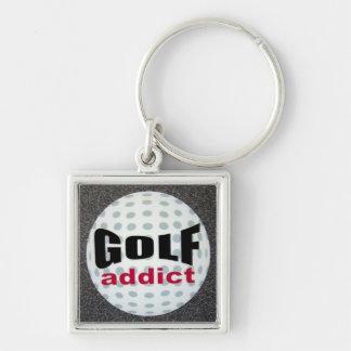 Adicto al golf llavero cuadrado plateado