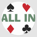 Adicto al póker pegatina redonda