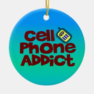 Adicto al teléfono celular adorno navideño redondo de cerámica