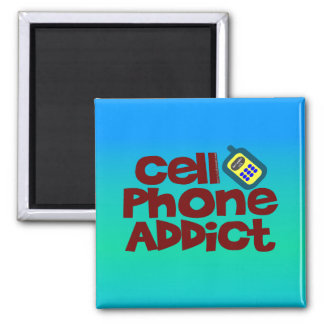 Adicto al teléfono celular imán cuadrado