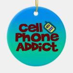 Adicto al teléfono celular ornamentos de navidad