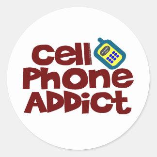 Adicto al teléfono celular pegatina redonda