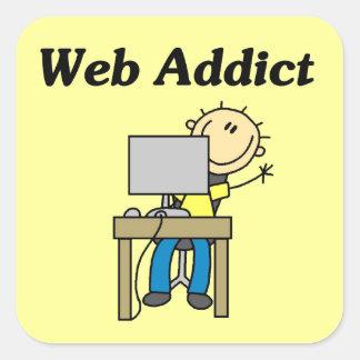 Adicto al Web Pegatina Cuadrada