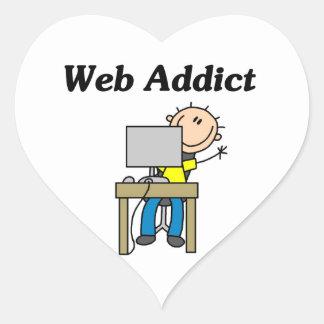 Adicto al Web Pegatina En Forma De Corazón