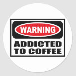 ADICTO amonestador al pegatina del CAFÉ