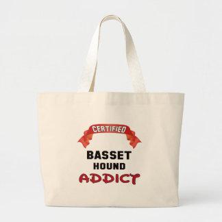Adicto certificado a Basset Hound Bolsa Tela Grande