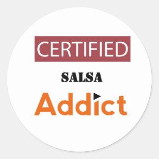 Adicto certificado a la salsa pegatina redonda