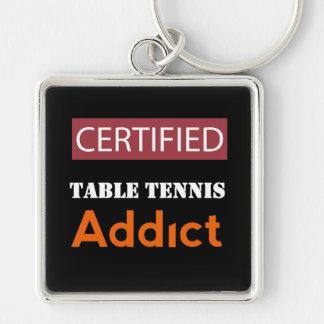 Adicto certificado a los tenis de mesa llavero cuadrado plateado